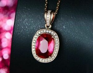 """4Ct Cushion Cut Red Ruby Halo Pendant 18"""" Free Chain Solid 14K Rose Gold Finish"""