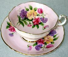 Paragon Fancy SWEET PEAS English Flowers Series Fine Bone China Cup & Saucer