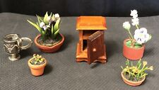 Vintage Dollhouse or Fairy Garden Miniature Potted Plants Nightstand Lot Flowers