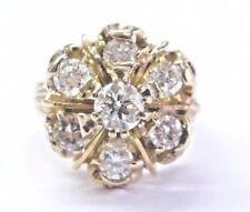 Fine Round Cut Diamond Yellow Gold 7-Stone Circular Ring 14KT 1.05Ct