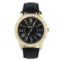 Geneva Uhr Damen Mode Strass Lederband Analog Quarz Armbanduhren