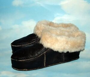 NEW! Women's Brown Soft Sole Booties boots Sheepskin Slippers Leather indoor use