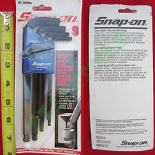 New Snap On 9 Piece L-Shape Metric Ball End Key Hex Set With Blue Holder - BHM9A