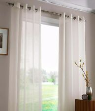 SHEER VOILE AURA EYELET CURTAINS 2X120X221cm IVORY light cream Lace alternative