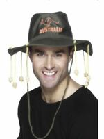 Men's Australian Outback Fancy Dress Hat & Corks Get Me Outta Here Stag Theme