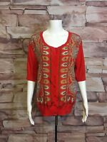 NY&CO Orange Half Sleeve Button Down Batik Cotton Knit Cardigan Top Women's XL