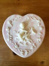 Reuge Music Box Heart Shaped Avondale Crushed Glass Pink Cameo Cherub Jewelry