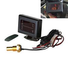 Digital Voltmeter Spannungsmesser Temperaturanzeige Thermometer 12/24V für Kfz