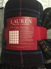 "Ralph Lauren PLUSH THROW BLANKET Tartan Plaid Green Blue Yellow NEW 60x70"" New"