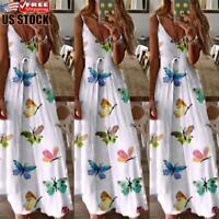 Womens Print V Neck Sleeveless Long Dress Ladies Summer Beach Holiday Maxi Dress