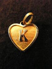 Heart Pendant Medallion Gold Plated Letter K 0 5/8in