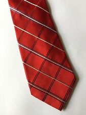 TIE Red Plaid Stripe White Black Gray Silk Necktie Mens Jones New York