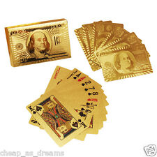 24K GOLD PLATED DOLLAR PLAYING CARDS FULL POKER DECK