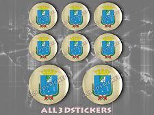 8 x 3D ROUND Stickers Resin Domed Flag São Luís - Adhesive Decal Vinyl