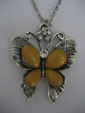 Ladies Silver Butterfly Faux Quartz & Rhinestone Necklace