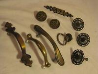 10 vintage handles pull handle parts metal hardware drawer ornate elegant round