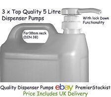 Quality Dispenser Pump 5 litre 1 US gal x 3 Oil, Polish, Soap, Sauce, Ketchup