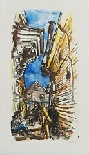 FALL SALE!  CHAIM GROSS  Lithograph, Side Street in New England SIGNED
