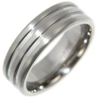 TITANIUM POLISHED GROOVED ENGAGEMENT BAND RING COMFORT FIT size #8,9,10,11,12