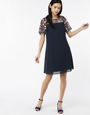 Monsoon Navy Cara Embroidered Dress Size 14 Bnwt