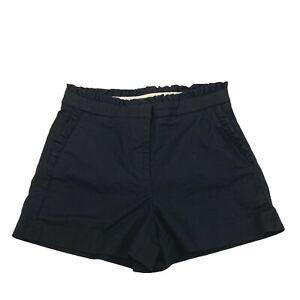 J Crew Ruffled Dress Shorts Cotton Black High Waist Solid G2044 Women's Size 0