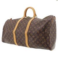 LOUIS VUITTON Keepall 55 Boston Hand Bag Brown Monogram M41424 Auth #TT441 Y