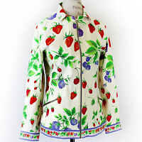 Vintage 60's Leonard Zipped Berry Print Collared Pockets Jacket size 38 Small