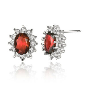 925 Sterling Silver Plated Classic Red Sapphire Oval CZ Stud Earrings Jewellery