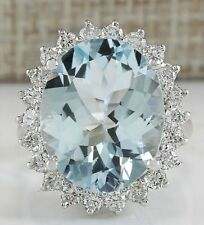 11.26CTW NATURAL AQUAMARINE AND DIAMOND RING IN 14K SOLID WHITE GOLD