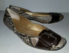 Tahari brown snakeskin patent leather buckle flats loafers. 8