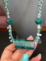 Vintage Blue Green Stone Pendant  Necklace Dyed Blue Mother Of Pearl Beaded Boho