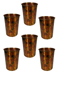 Designer Set of six 100% copper heavy duty glass with printing From India