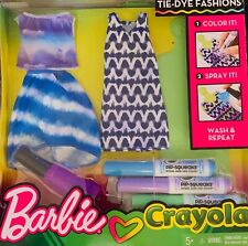 Barbie Crayola Tie-Dye Fashions, Decorate Your Own Blue, Purple & Green