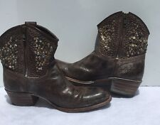 Sendra Distressed Leather Zip Ankle Leather Cowgirl Boots Womens Sz 8 Made Spain
