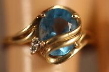 14K SOLID YELLOW GOLD 2.02CTW SWISS BLUE TOPAZ DIAMOND ART DECO RING 14KT SZ 6