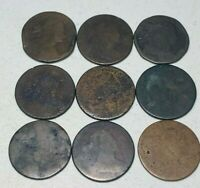 US Coin Lot 9 Large Cents DRAPED BUST 1796-1807 Early Worn Copper Pennies A146