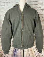 GH Bass & Co Men's Sherpa Lined Canvas Bomber Work Jacket Hood Size S