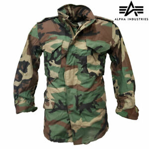 M65 Jacket Alpha Industries US Army Military Combat Field Coat Woodland DPM Camo