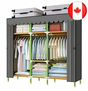 YOUUD 65 Inches Wardrobe Storage Closet Colored Rods and Grey Cover Portable Clo