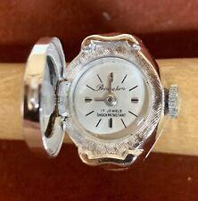 Vintage Princeton 17 Jewels Silver Tone Ladies Watch Ring Runs