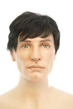 Black with 5% Grey Brunette Medium Human Hair Straight Men Wig