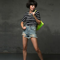 New Women High Waist Jeans Ripped Hole Short Jeans Casual Denim Shorts Pants