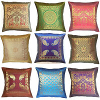 "Large Zip Cushion Cover 24x24"" 60cm Indian Silk Brocade Animal Birds Tapestry"
