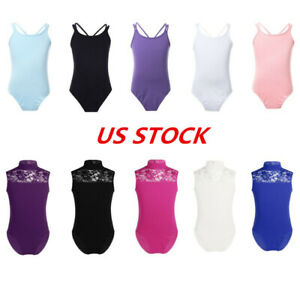 MSemis Kids Girls Sleeveless Floral Lace Back Athletic Leotard Ballet Gymnastics Tank Top Leotard Bodysuit Dancewear