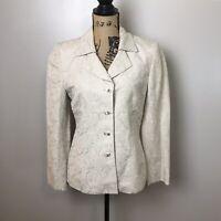 Kasper ASL Women Embroidered Lined Linen Blend Blazer Jacket Beige Oatmeal Sz 6