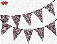 Safari Animal Pink Leopard Spots Print Themed Bunting Banner Decoration 15 flags