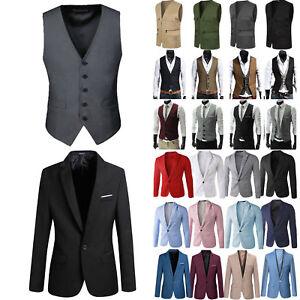 Herren Business Hochzeit Blazer Anzug Weste Mantel Jacket Sakko Slim Anzugweste