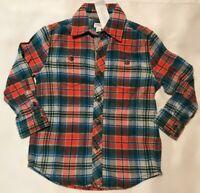Gymboree Boy Size XXS 3 Plaid Flannel Shirt Orange Blue Green  Button Up New