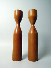 PAIR OF DANISH MODERN TEAK CANDLE HOLDERS DESIGN MID CENTURY MODERNIST 50s 60s