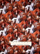 Country Fabric - Farm Animals Packed Horses - Elizabeth's Studio YARD